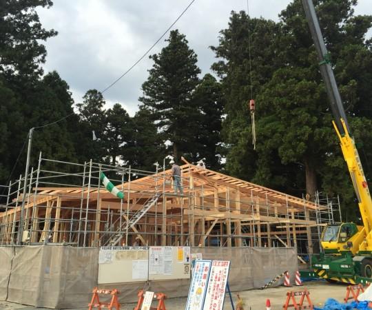 台風前の建方