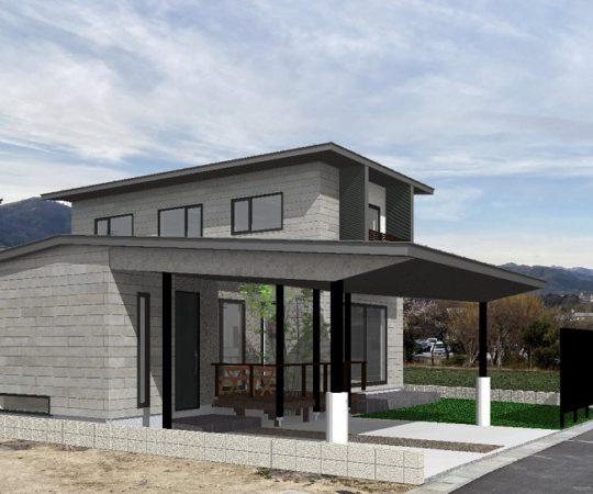 風越山を望む家 完成予想パース